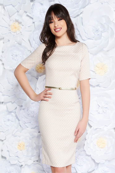PrettyGirl cream office midi pencil dress slightly elastic fabric accessorized with belt with inside lining