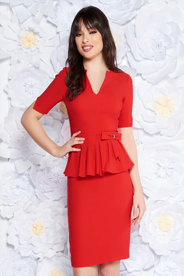 PrettyGirl red elegant midi pencil dress frilled slightly elastic fabric with inside lining