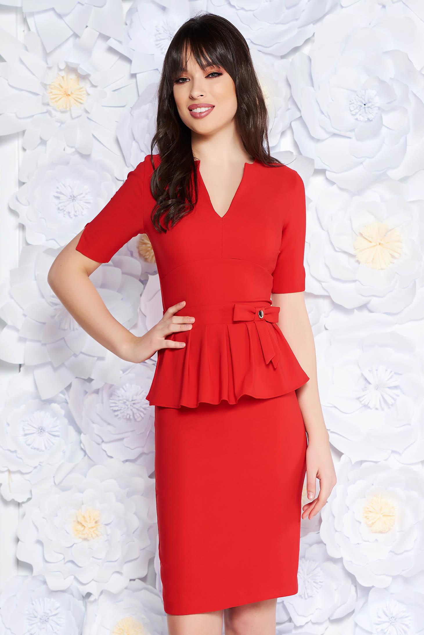 PrettyGirl red elegant midi pencil dress frilled slightly elastic fabric with inside lining