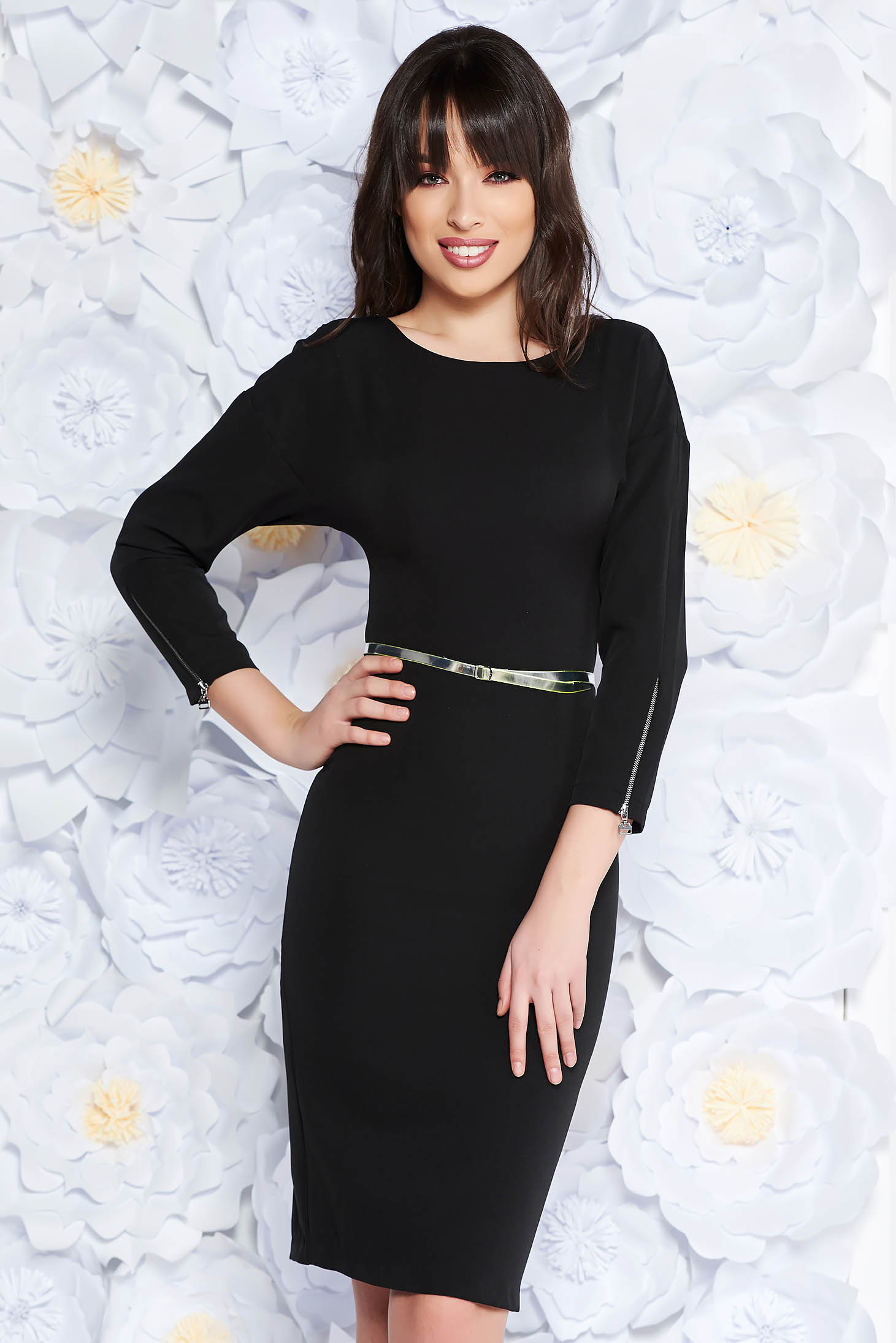 PrettyGirl black elegant midi dress slightly elastic fabric with inside lining accessorized with belt