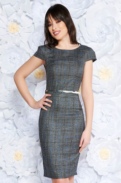 PrettyGirl grey office midi pencil dress from non elastic fabric accessorized with belt