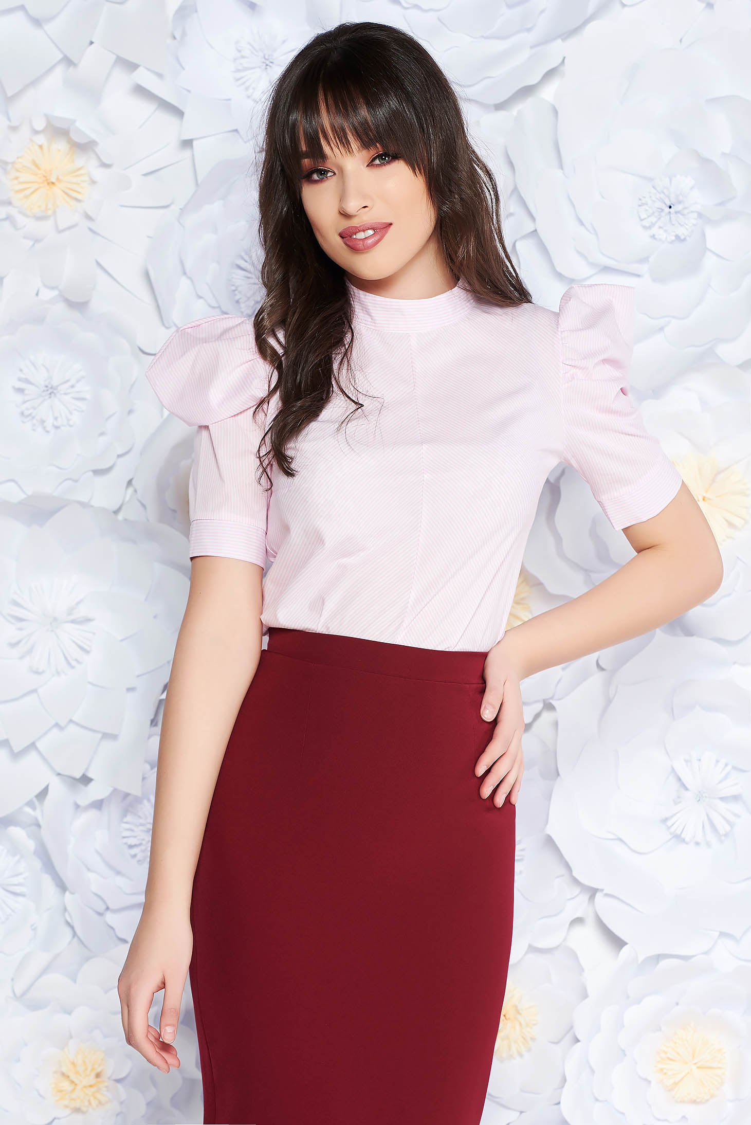PrettyGirl lightpink office women`s blouse nonelastic cotton with puffed sleeves flared