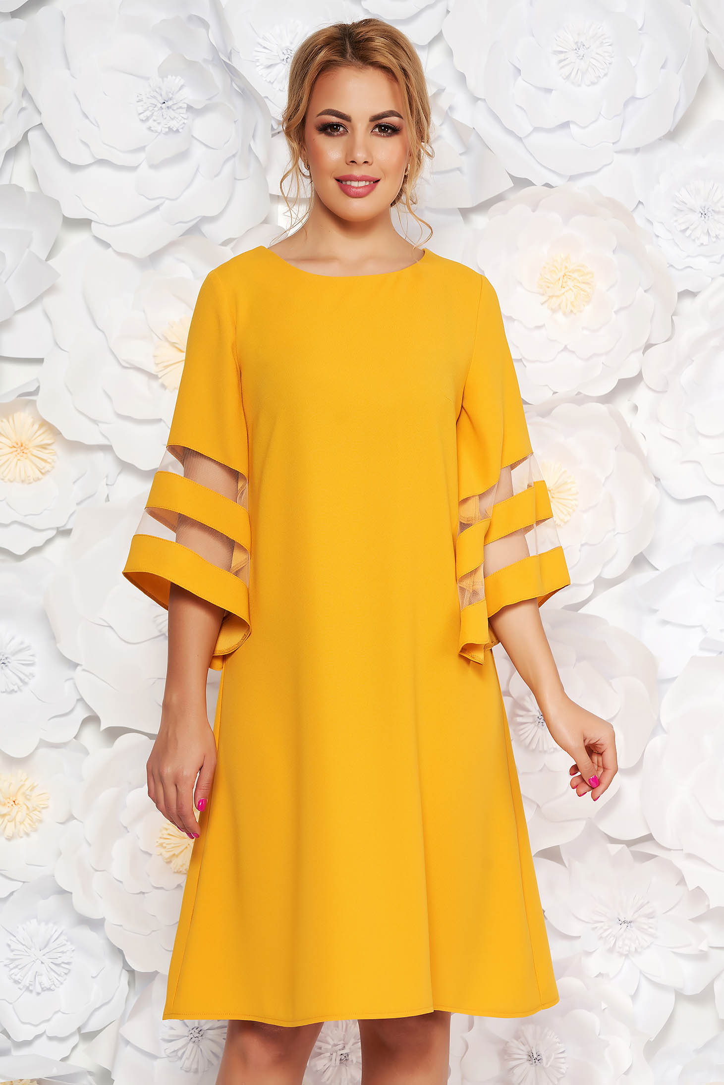 Yellow dress elegant flared from non elastic fabric large sleeves