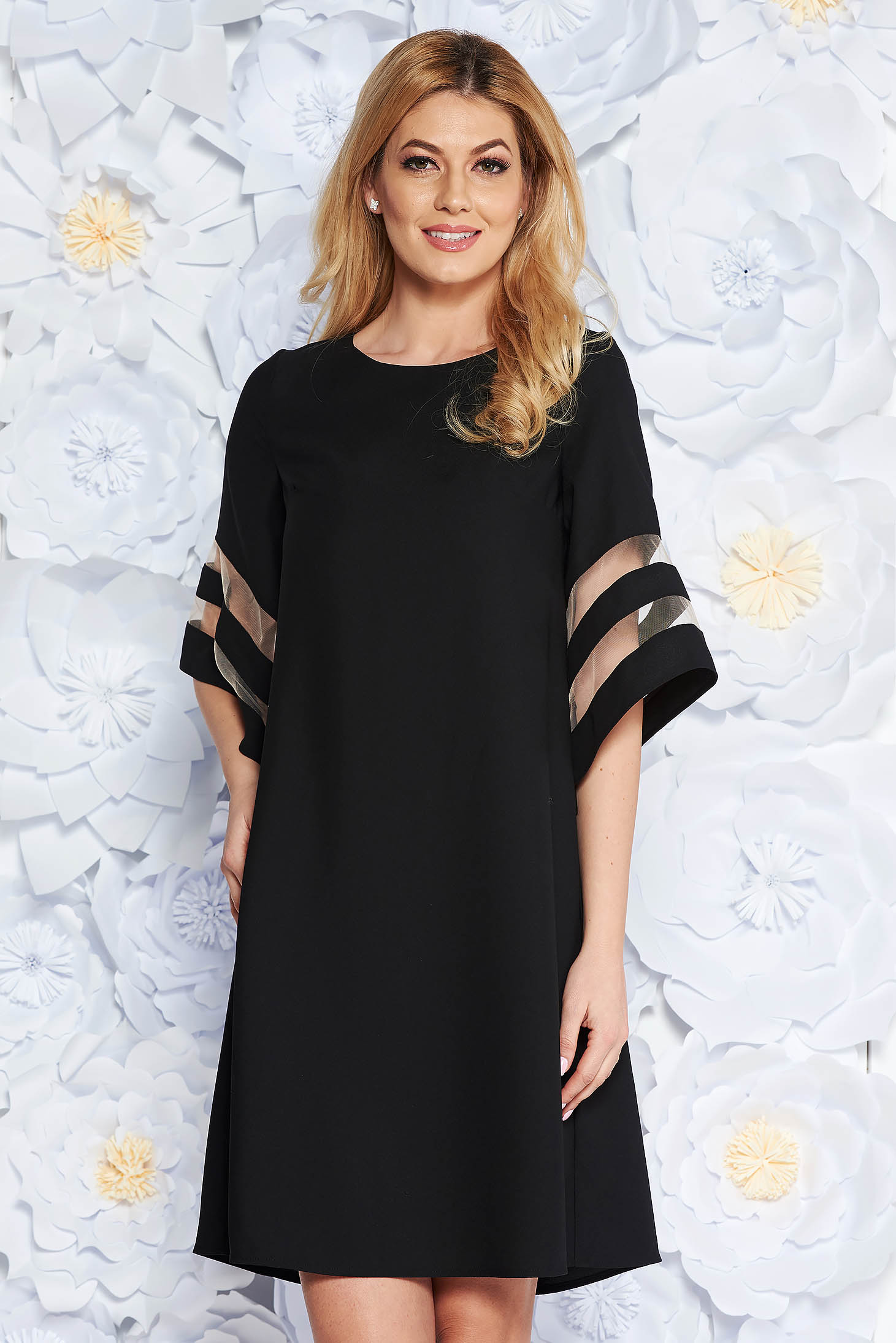 Rochie neagra eleganta cu croi larg din stofa neelastica maneci largi