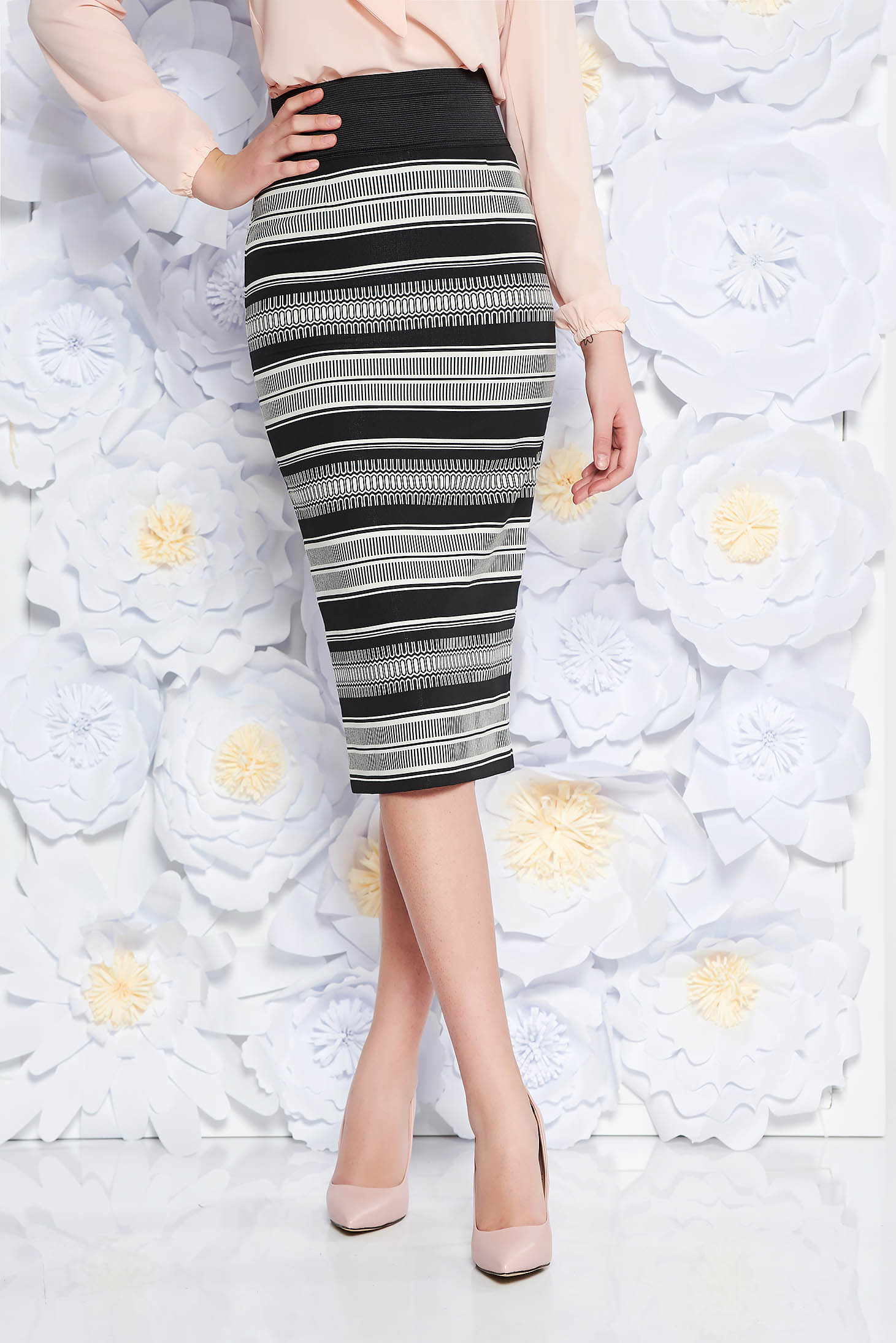 White office midi pencil skirt high waisted cotton with elastic waist