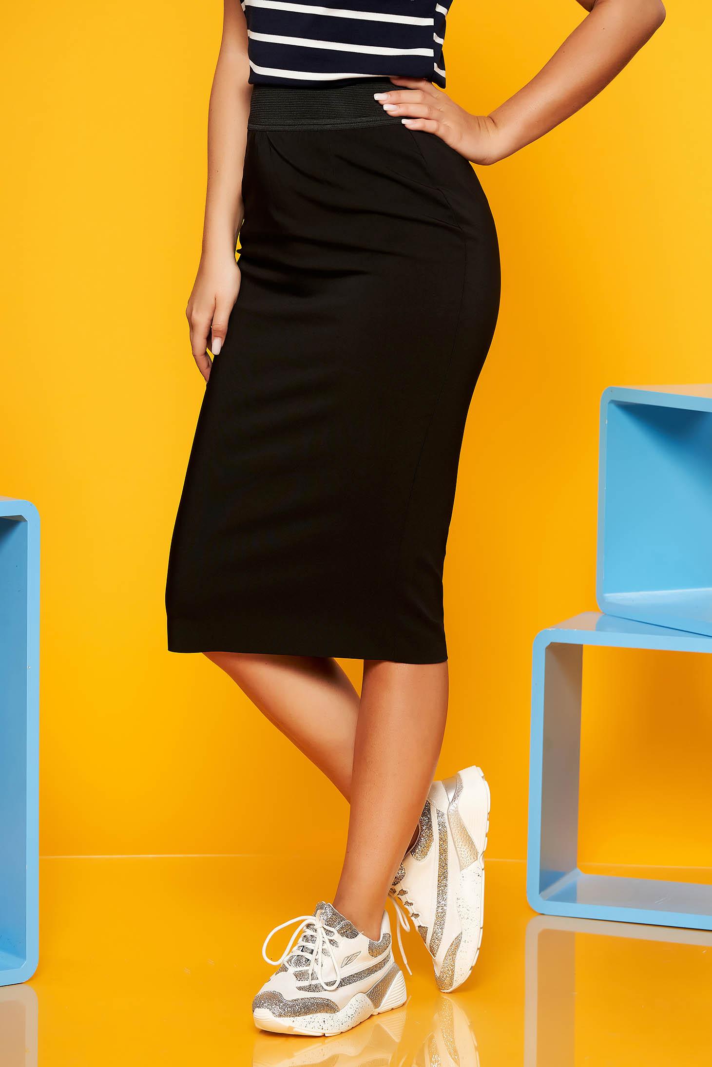 Black office midi pencil skirt high waisted cotton with elastic waist