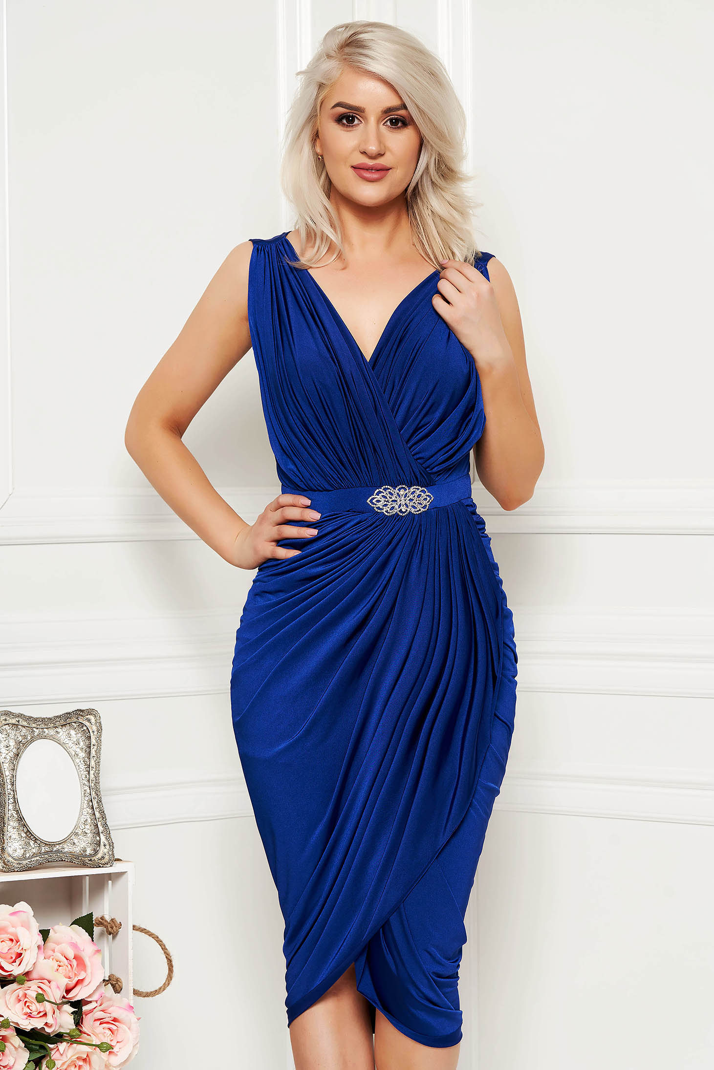 Blue occasional wrap around dress with embellished accessories with tented cut thin fabric