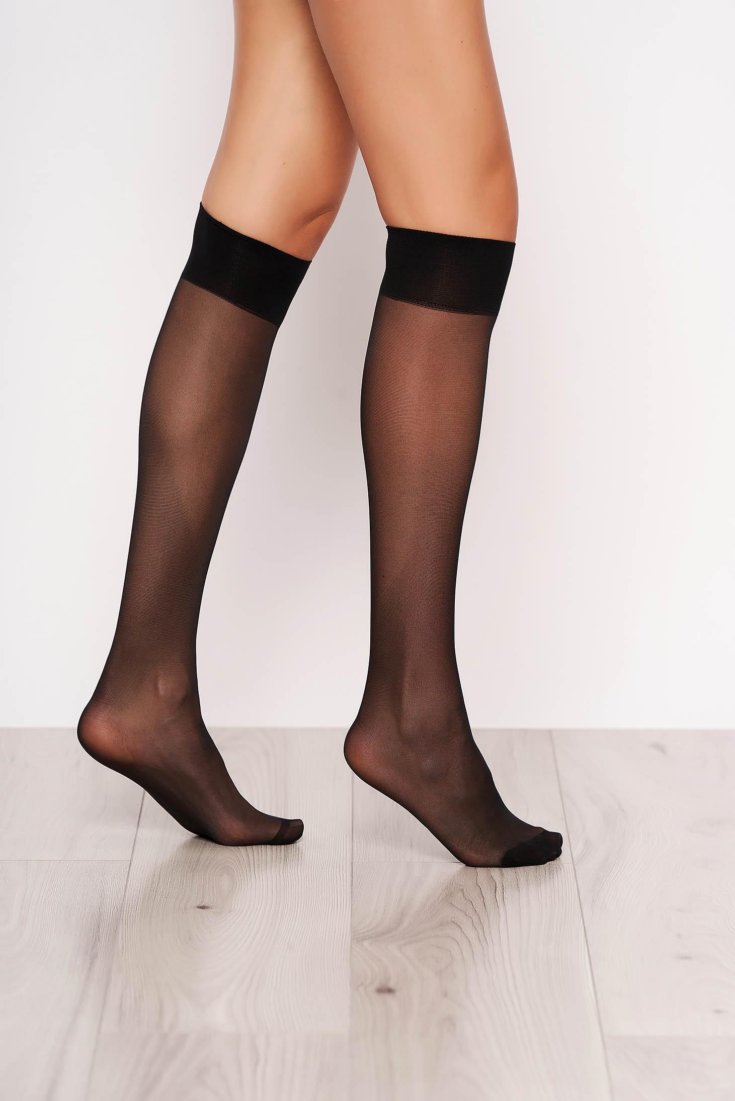 Sosete negre din material elastic cu banda elastica care nu aluneca