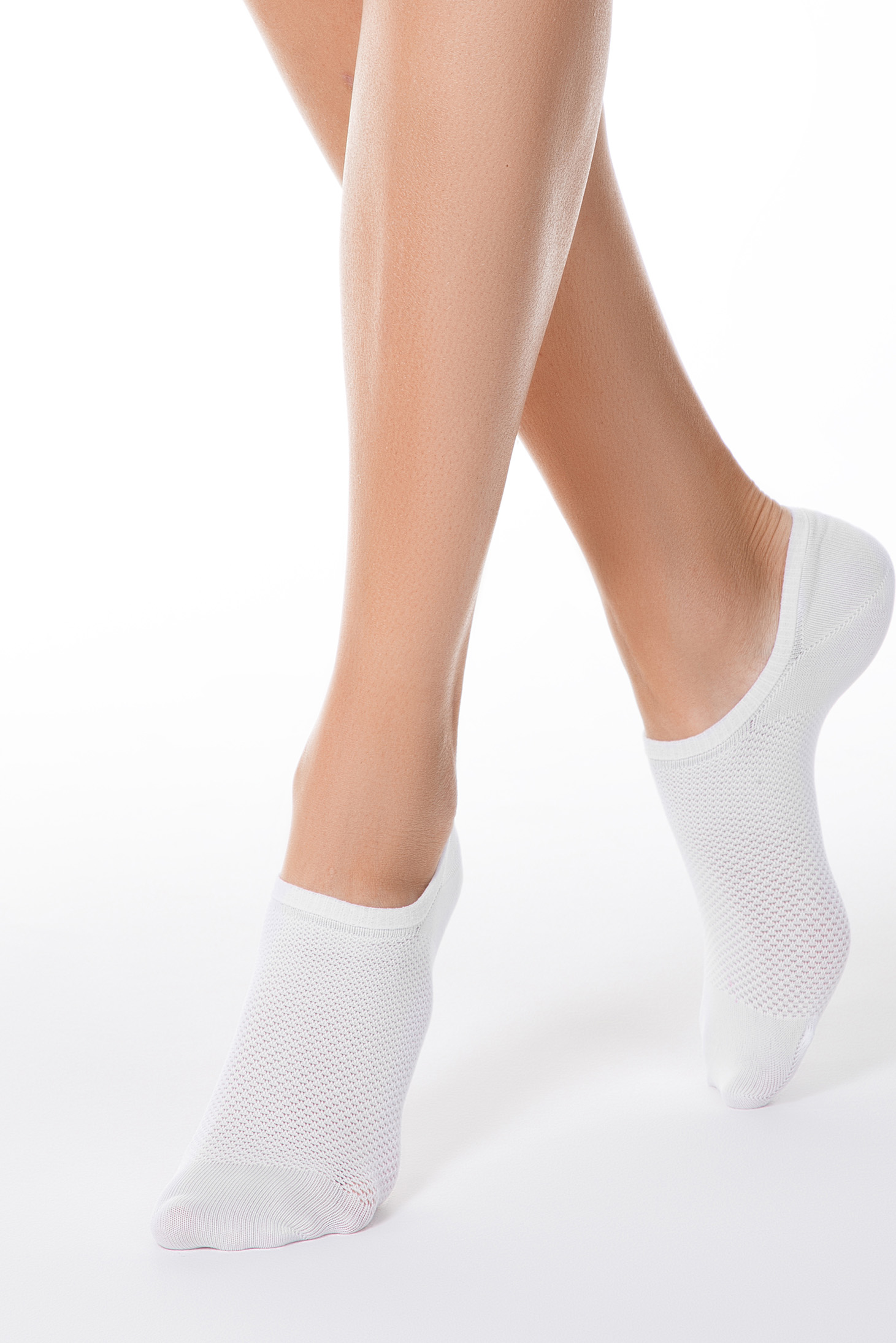 White socks from elastic fabric net stockings fitted heel