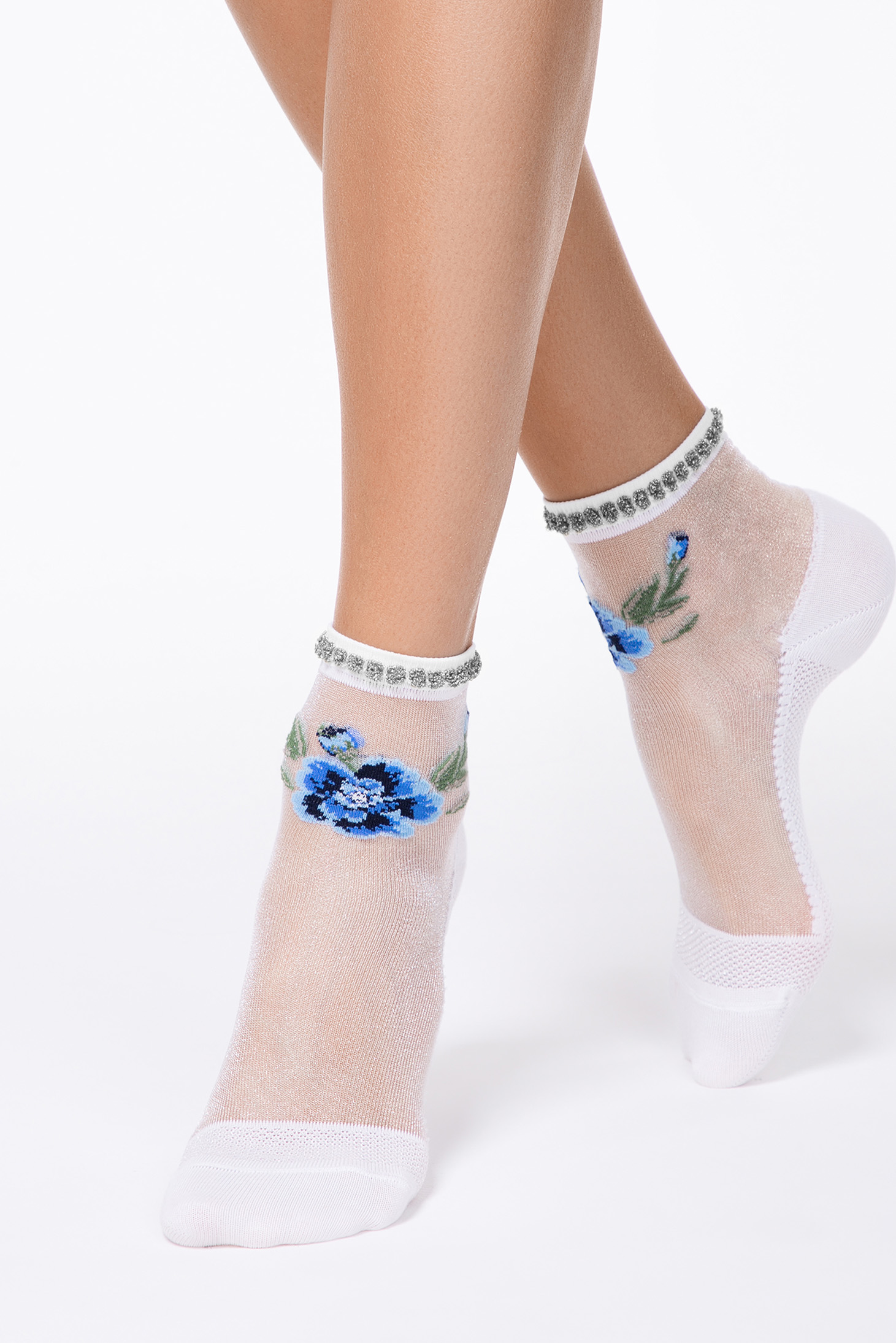 Blue tights & socks transparent fabric fitted heel with floral print