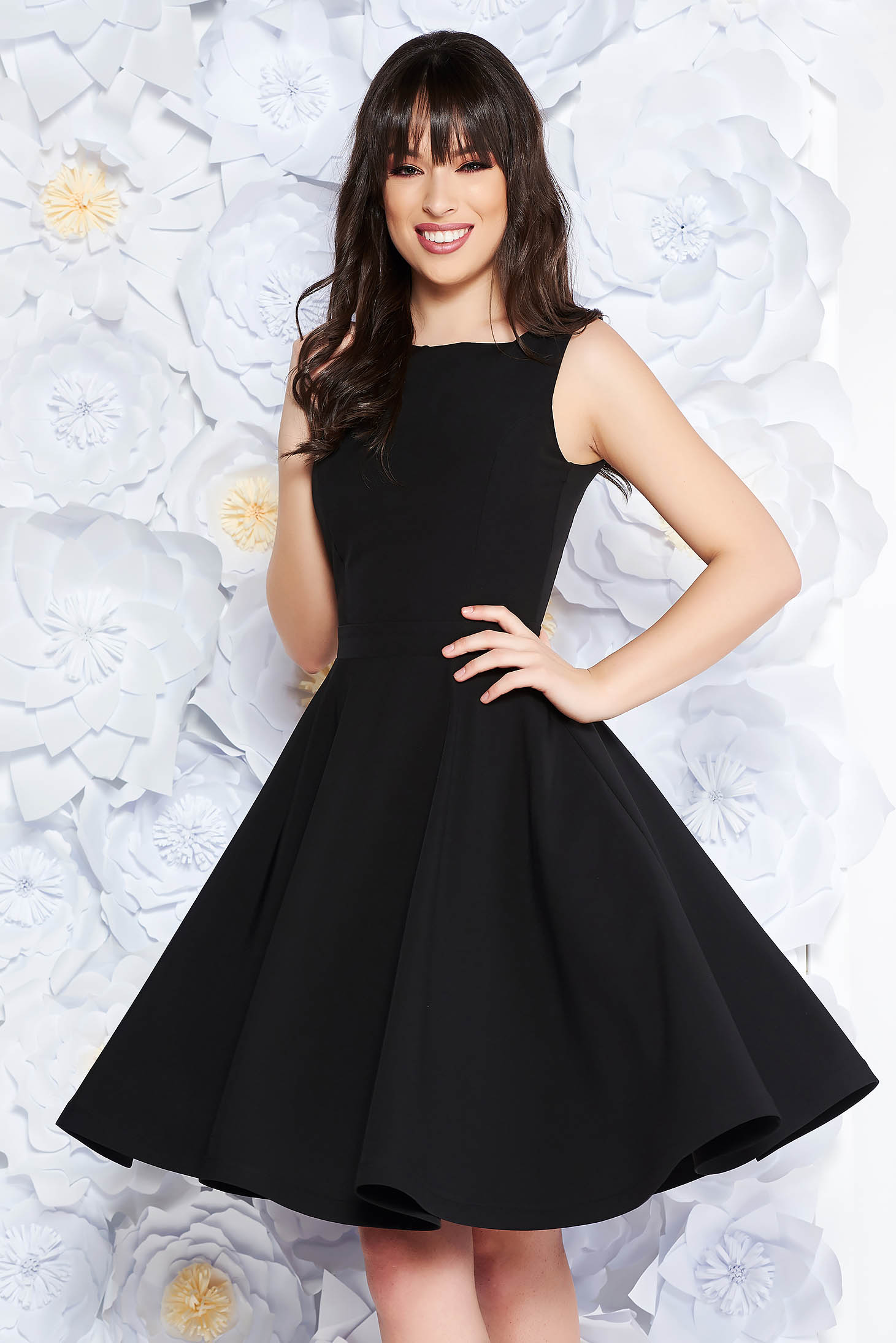 StarShinerS black elegant cloche dress slightly elastic fabric with inside lining with cut back with bow
