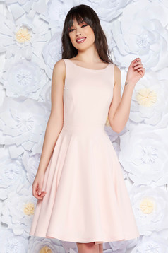 StarShinerS peach elegant cloche dress slightly elastic fabric with inside lining with cut back with bow