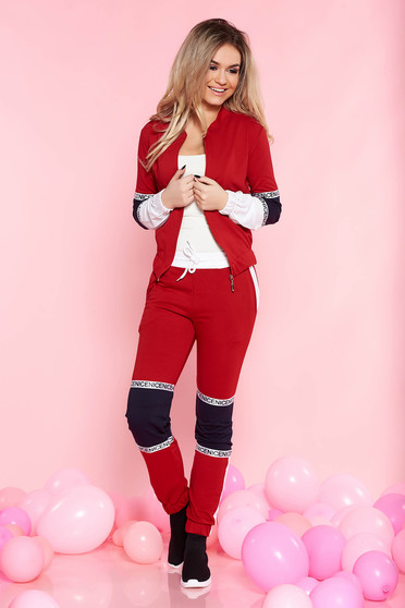 SunShine red casual set slightly elastic cotton with elastic waist with pockets
