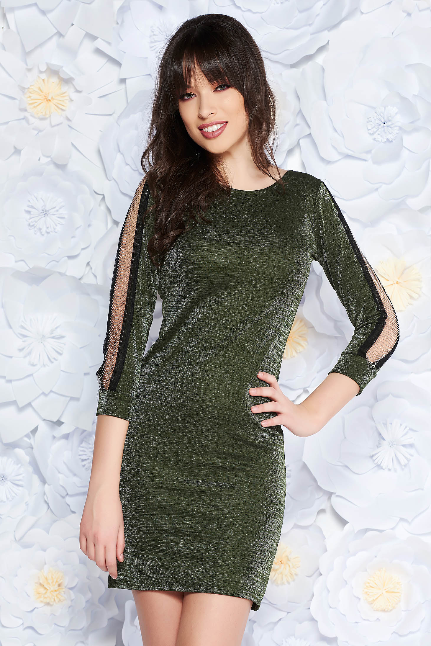 SunShine darkgreen clubbing dress from elastic fabric with tented cut with cut-out sleeves