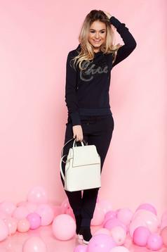 SunShine darkblue casual set slightly elastic cotton with crystal embellished details with elastic waist