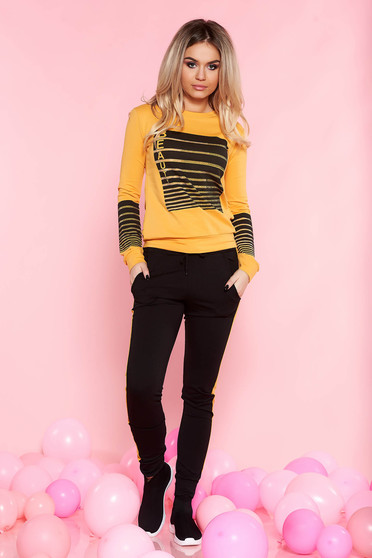 SunShine mustard casual set slightly elastic cotton with pockets long sleeved strass