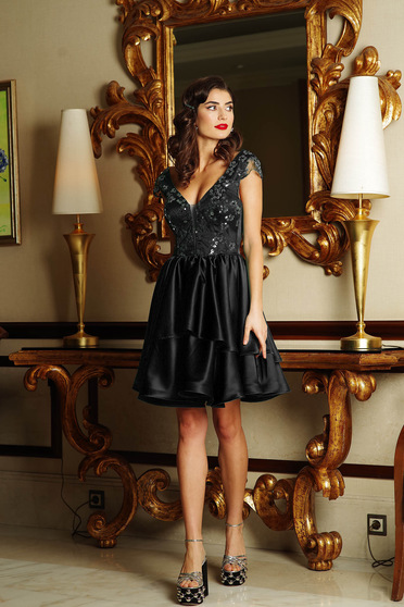 Artista black occasional cloche dress from satin fabric texture with push-up cups with sequin embellished details