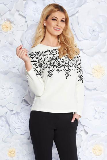 White office flared women`s blouse slightly elastic fabric long sleeved