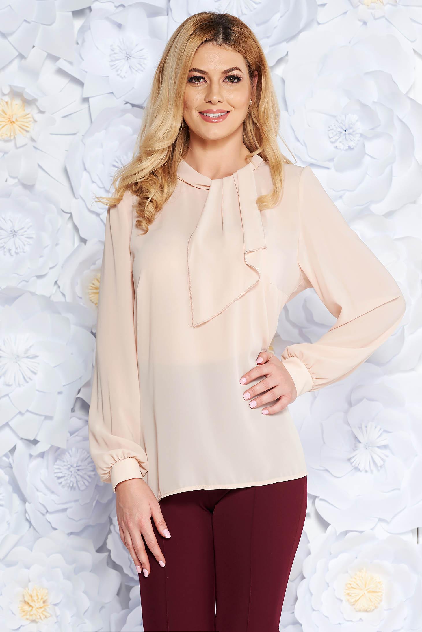 Cream elegant from veil fabric flared women`s blouse long sleeved