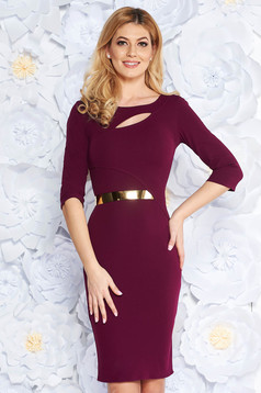 Purple elegant pencil dress from elastic fabric cut-out bust design accessorized with tied waistband