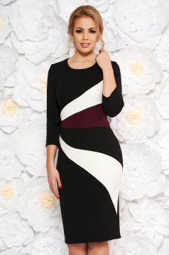 Black office midi pencil dress slightly elastic fabric with 3/4 sleeves