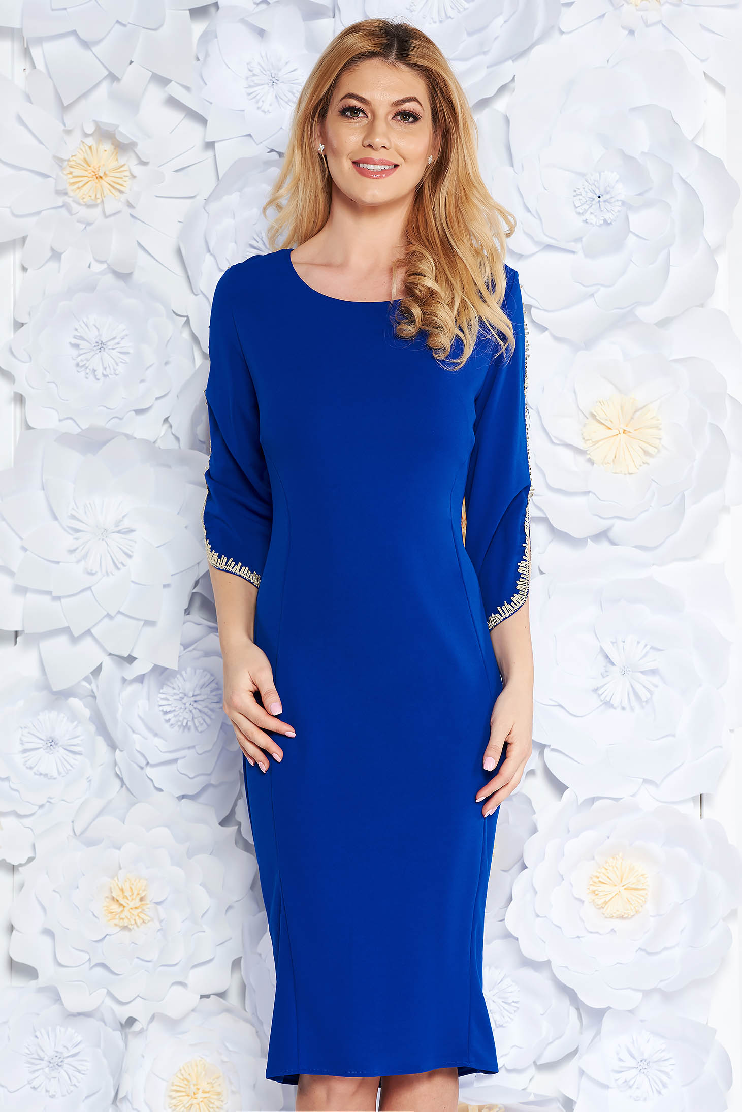 Blue elegant pencil dress from elastic fabric with embroidery details with 3/4 sleeves