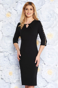Black elegant pencil dress elastic cotton with cut-out sleeves with pearls