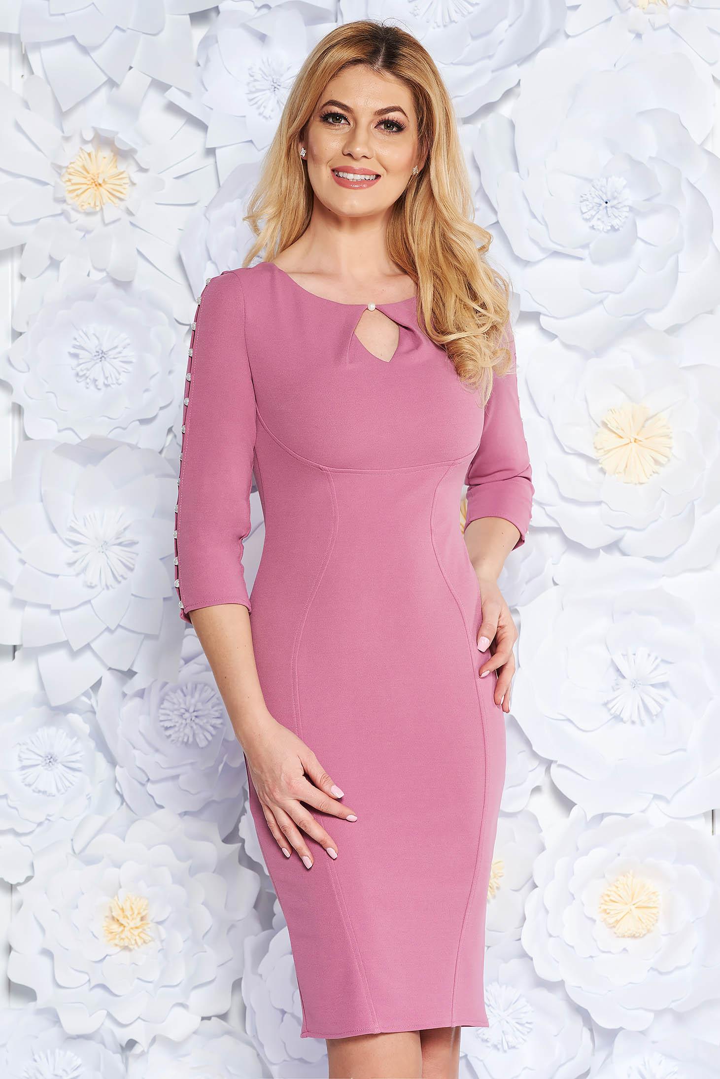 Rochie lila eleganta tip creion din bumbac elastic cu maneci decupate cu aplicatii cu perle