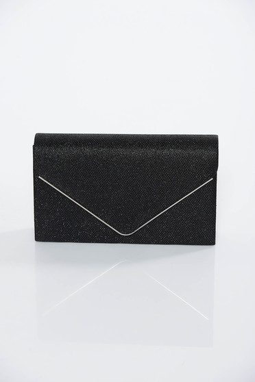 Black occasional bag clutch shimmery metallic fabric