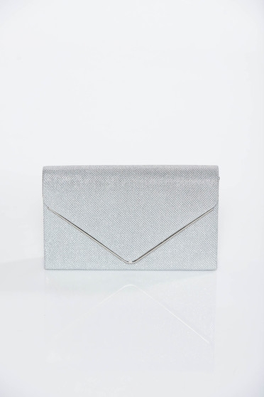 Silver occasional bag clutch shimmery metallic fabric