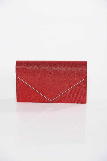 Red occasional bag clutch shimmery metallic fabric