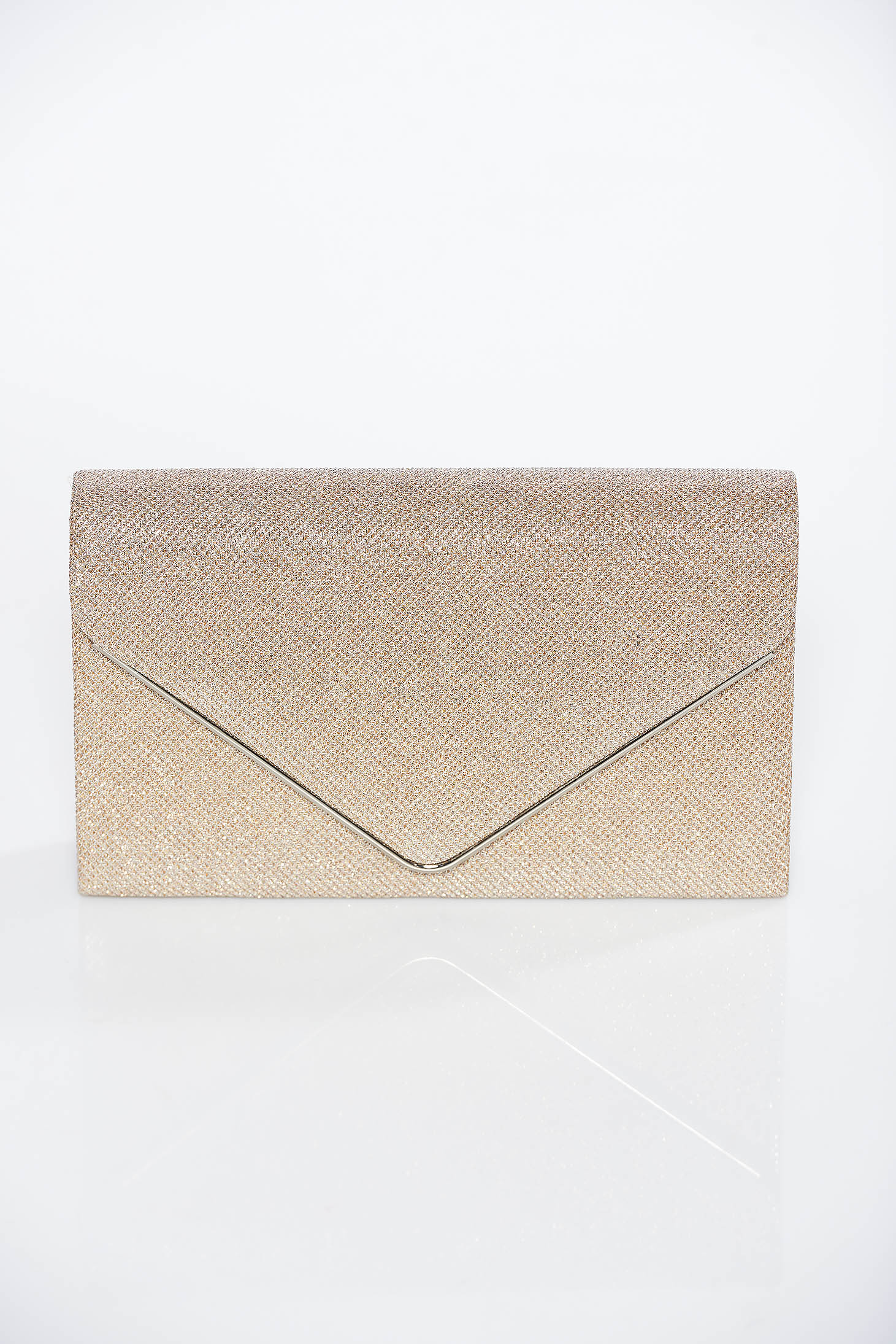 Gold occasional bag clutch shimmery metallic fabric