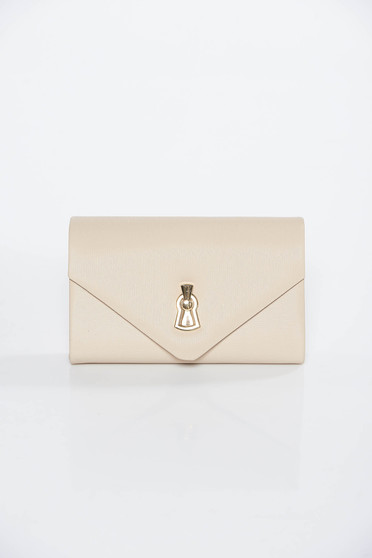 Cream occasional clutch bag from ecological leather