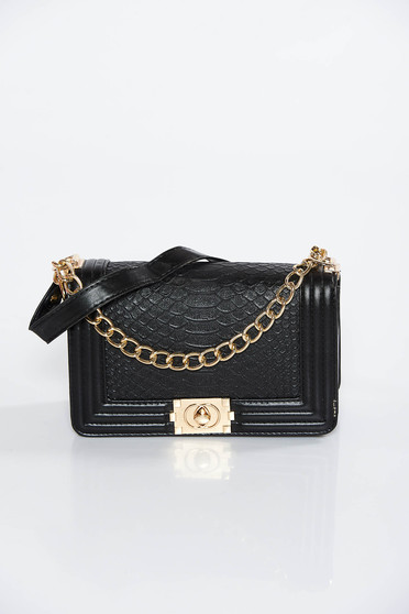 Black bag casual from ecological leather with metallic aspect long chain handle