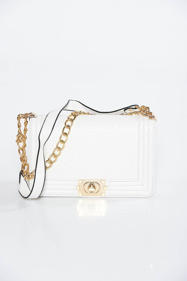 White bag casual from ecological leather with metallic aspect long chain handle