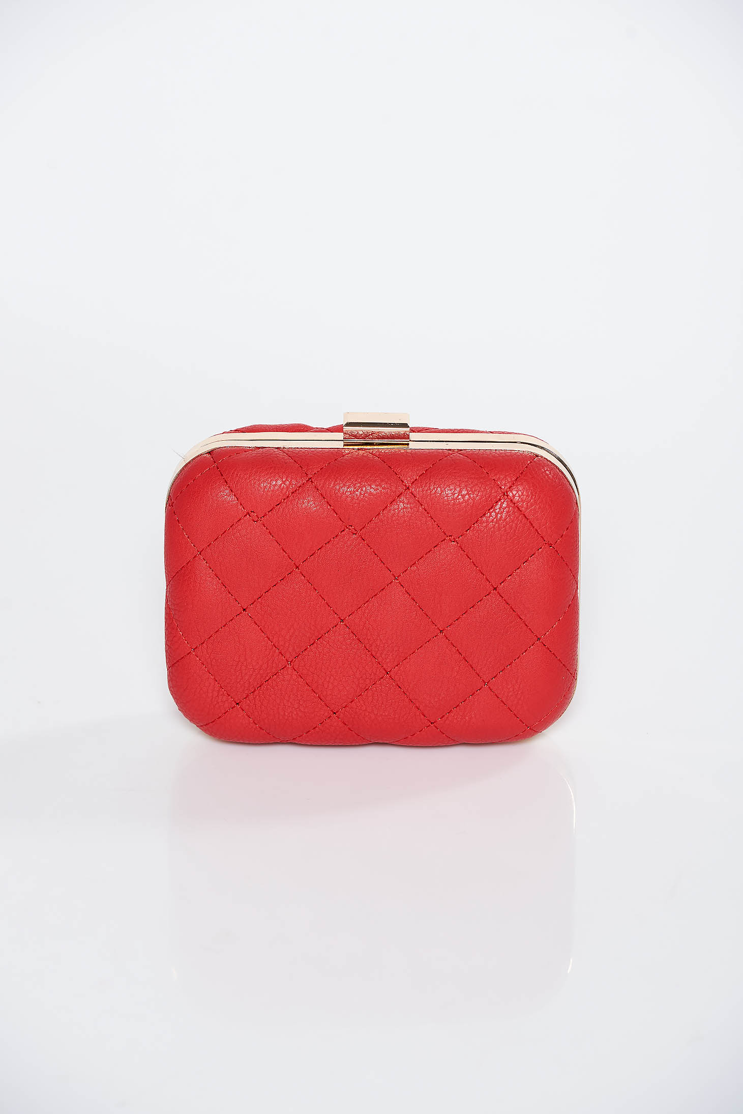 Red clutch bag from ecological leather long chain handle