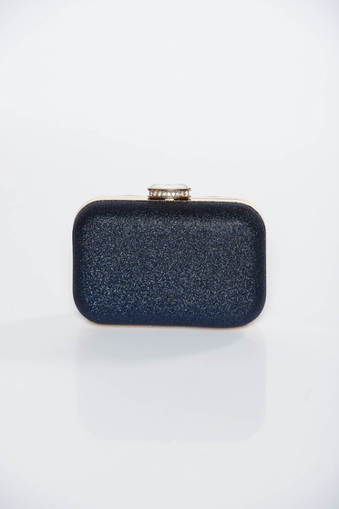 Darkblue occasional clutch bag with metallic aspect long chain handle