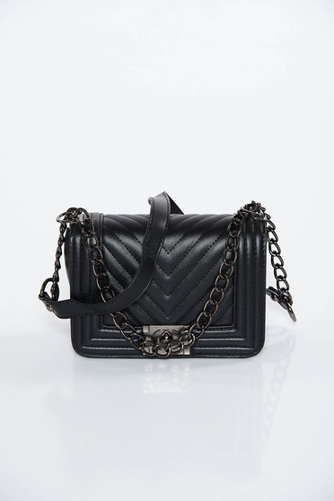 Black casual bag long chain handle from ecological leather
