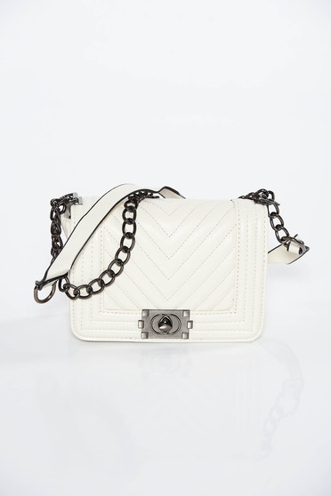 Cream casual bag long chain handle from ecological leather