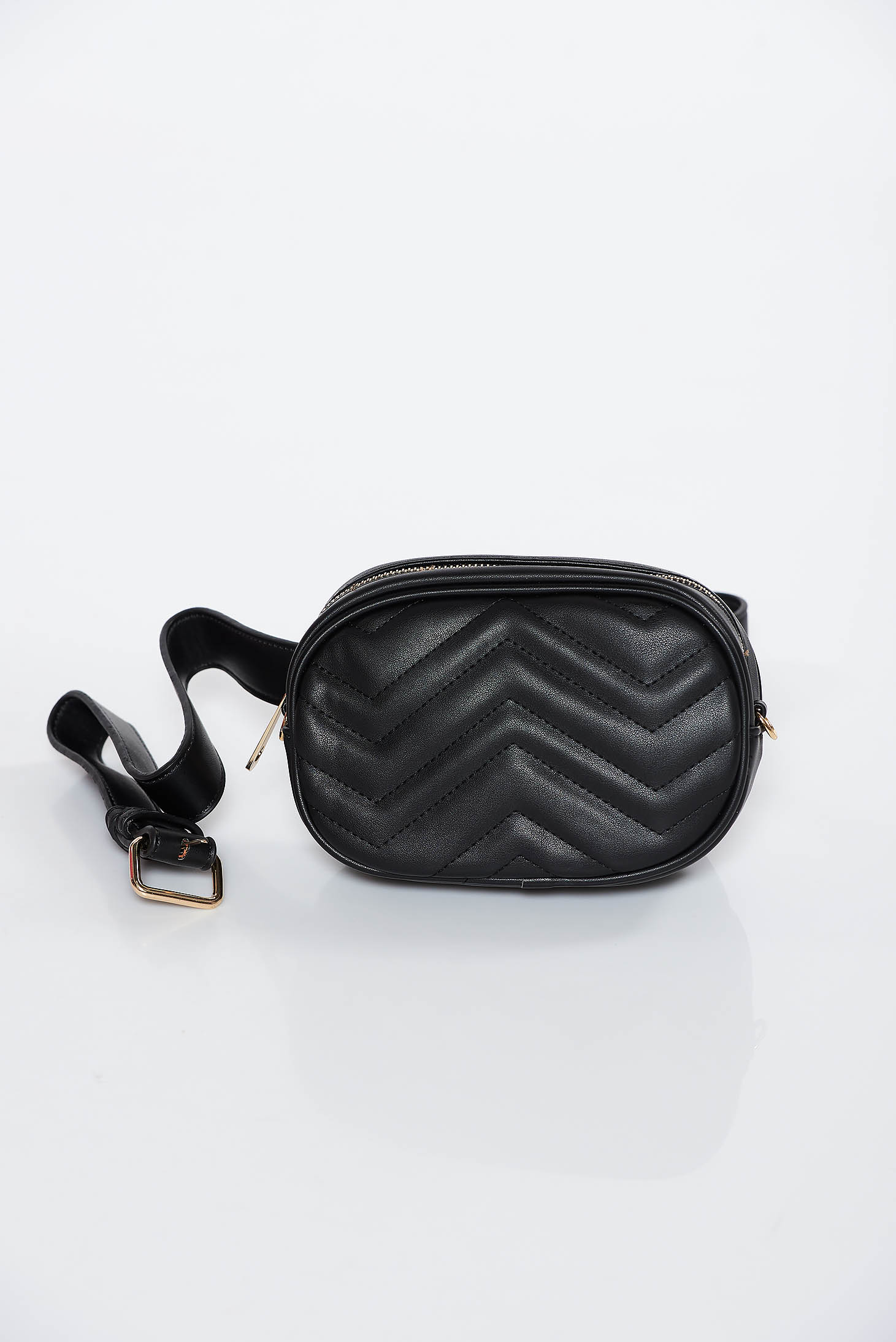 Black casual bag from ecological leather accessorized with belt