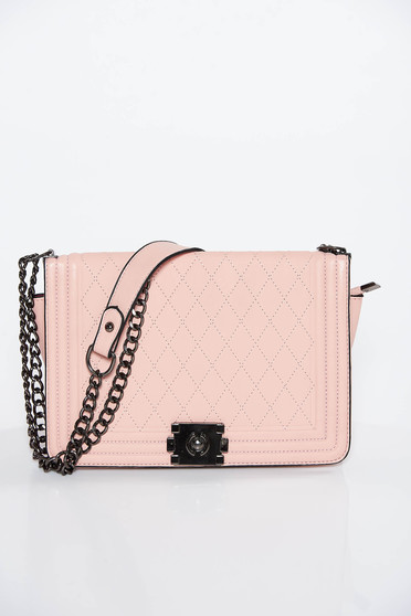 Lightpink casual bag from ecological leather long chain handle