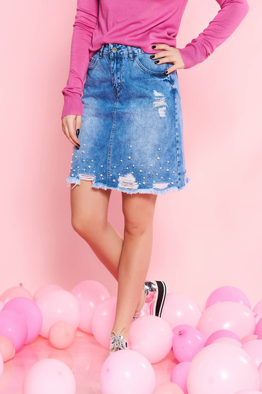 SunShine blue casual cotton skirt with pearls with ruptures with medium waist