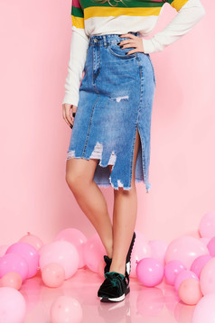 SunShine blue casual high waisted skirt straight cotton with ruptures