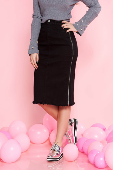 SunShine black casual high waisted midi skirt elastic cotton zipper accessory