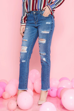 SunShine blue casual cotton jeans with ruptures with medium waist with pockets