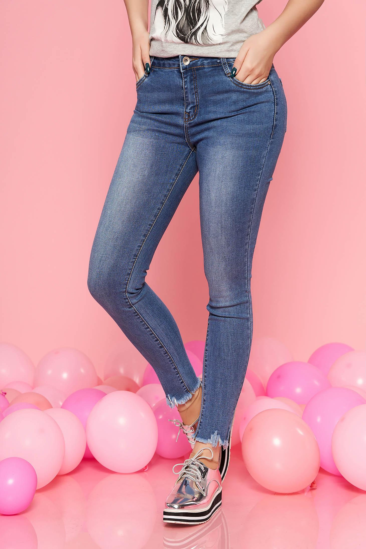Blugi SunShine albastri casual skinny cu talie inalta din bumbac elastic cu buzunare