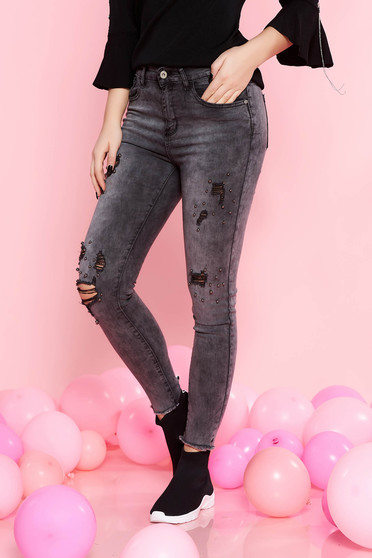 SunShine darkgrey casual skinny cotton jeans with small beads embellished details with pockets
