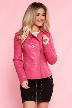 SunShine pink casual jacket from ecological leather with inside lining with zipper details pockets