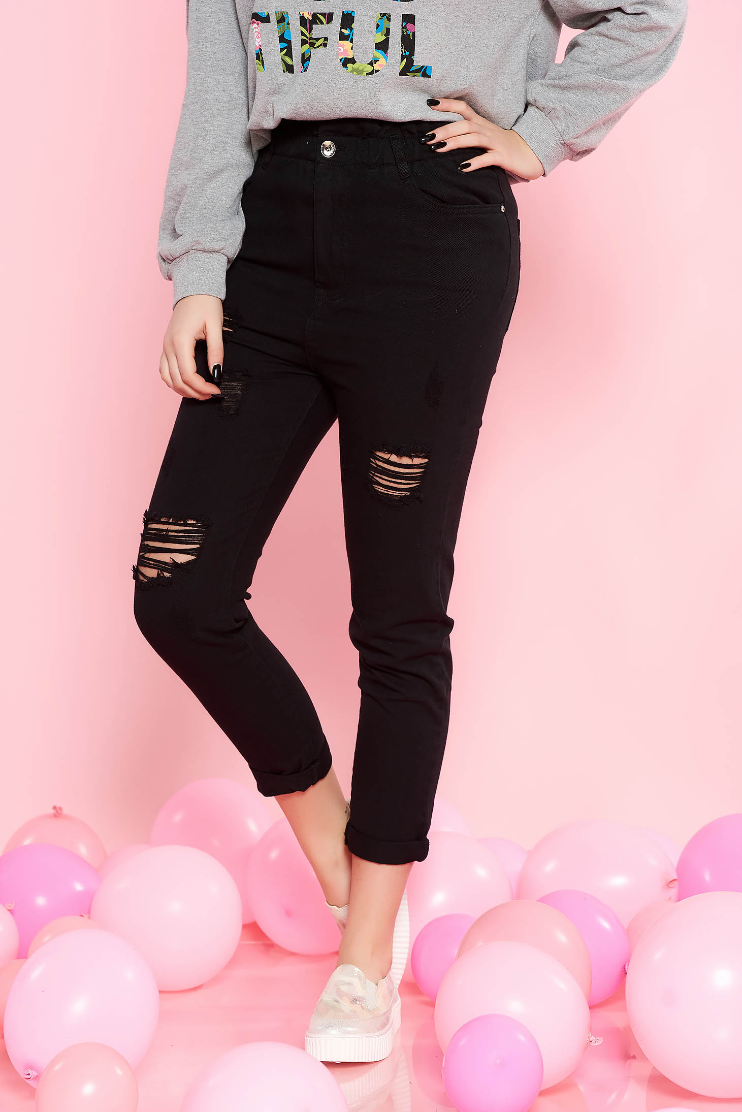 SunShine black casual high waisted cotton jeans with pockets with ruptures