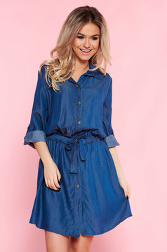 SunShine blue casual flared dress airy fabric accessorized with tied waistband